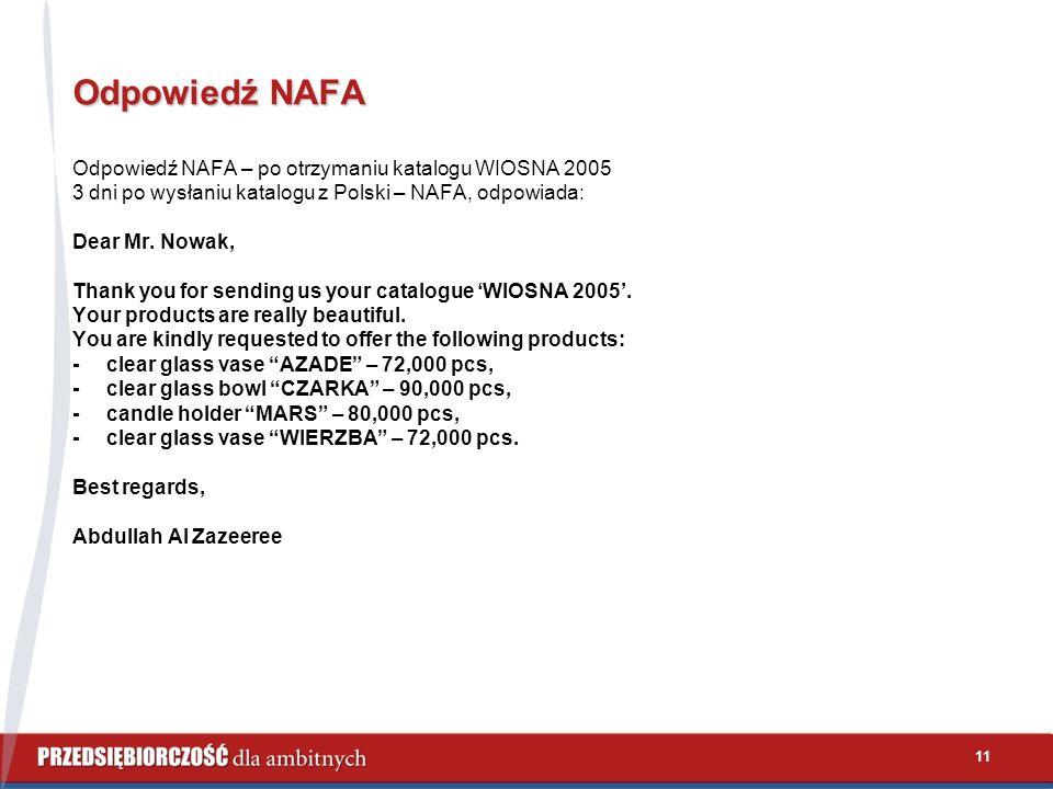 11 Odpowiedź NAFA Odpowiedź NAFA – po otrzymaniu katalogu WIOSNA 2005 3 dni po wysłaniu katalogu z Polski – NAFA, odpowiada: Dear Mr.