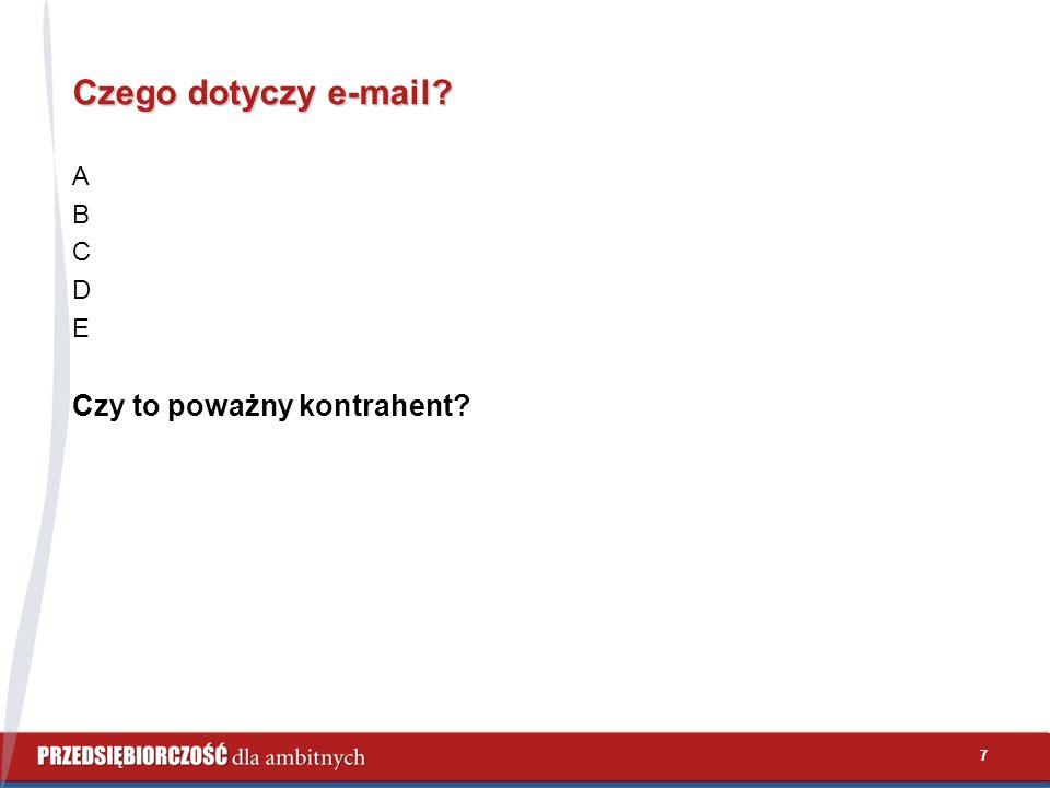 7 Czego dotyczy e-mail? A B C D E Czy to poważny kontrahent?