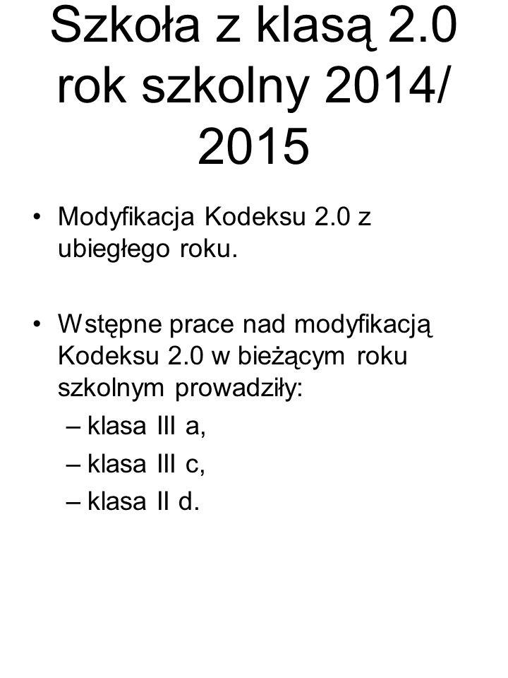 Szkoła z klasą 2.0 rok szkolny 2014/ 2015 Modyfikacja Kodeksu 2.0 z ubiegłego roku.