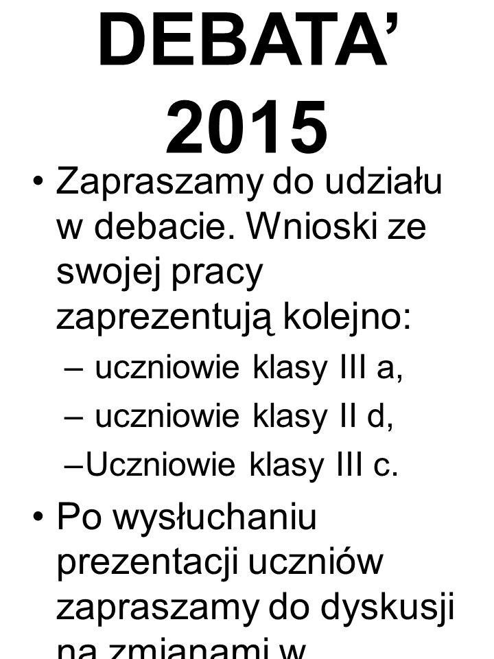 DEBATA' 2015 Zapraszamy do udziału w debacie.