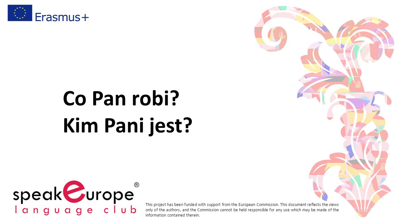 Co Pan robi? Kim Pani jest? This project has been funded with support from the European Commission. This document reflects the views only of the autho