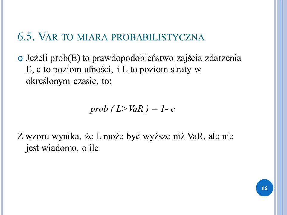 6.5. V AR TO MIARA PROBABILISTYCZNA Jeżeli prob(E) to prawdopodobieństwo zajścia zdarzenia E, c to poziom ufności, i L to poziom straty w określonym c