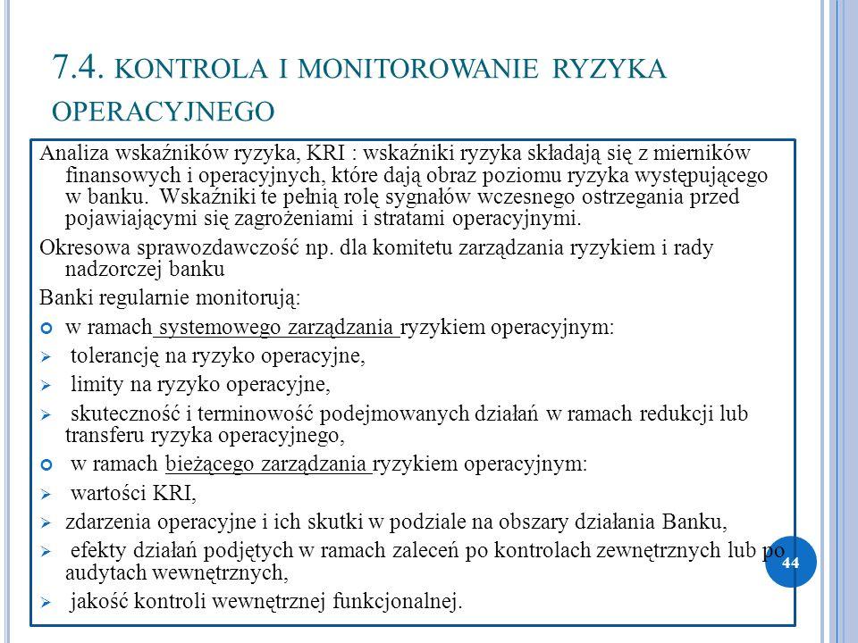 7.4. KONTROLA I MONITOROWANIE RYZYKA OPERACYJNEGO Analiza wskaźników ryzyka, KRI : wskaźniki ryzyka składają się z mierników finansowych i operacyjnyc