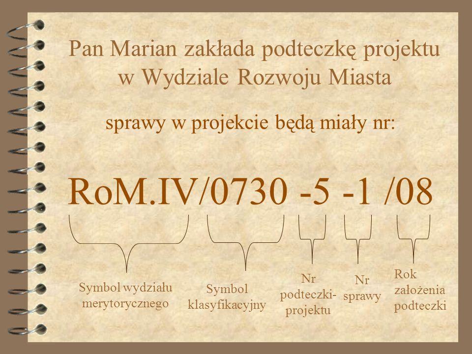 sprawy w projekcie będą miały nr: RoM.IV/0730 -5 -1 /08 Symbol wydziału merytorycznego Symbol klasyfikacyjny Nr podteczki- projektu Nr sprawy Rok zało