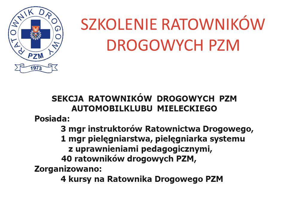 SZKOLENIE RATOWNIKÓW DROGOWYCH PZM SEKCJA RATOWNIKÓW DROGOWYCH PZM AUTOMOBILKLUBU MIELECKIEGO Posiada: 3 mgr instruktorów Ratownictwa Drogowego, 1 mgr