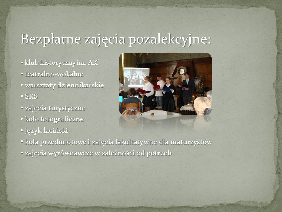 Bezpłatne zajęcia pozalekcyjne: klub historyczny im.