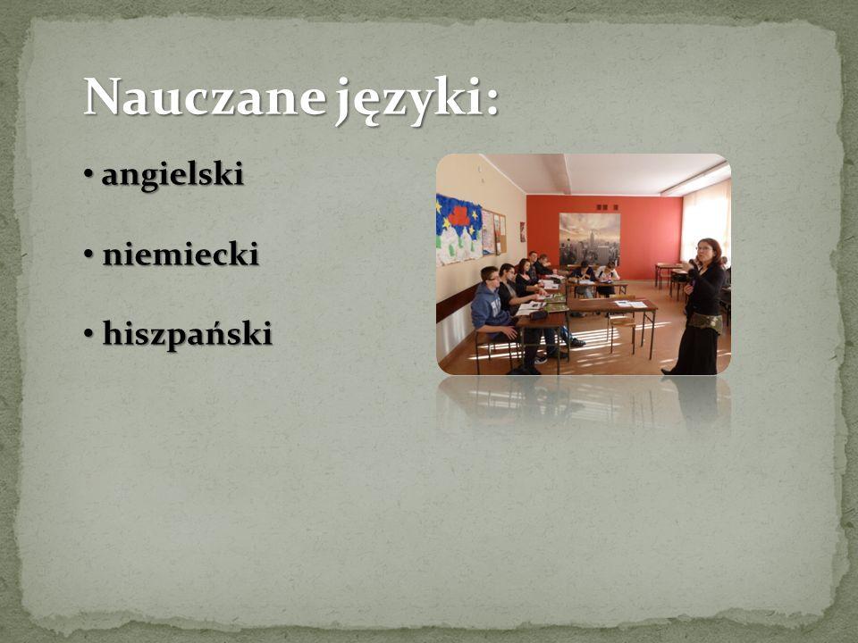 Nauczane języki: angielski angielski niemiecki niemiecki hiszpański hiszpański