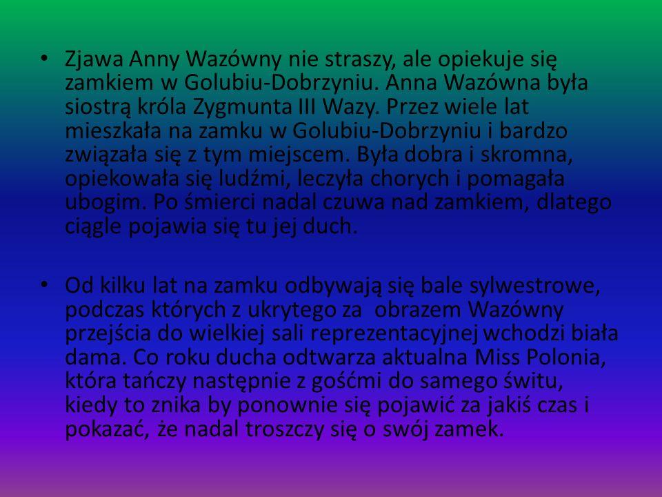 Zjawa Anny Wazówny nie straszy, ale opiekuje się zamkiem w Golubiu-Dobrzyniu. Anna Wazówna była siostrą króla Zygmunta III Wazy. Przez wiele lat miesz