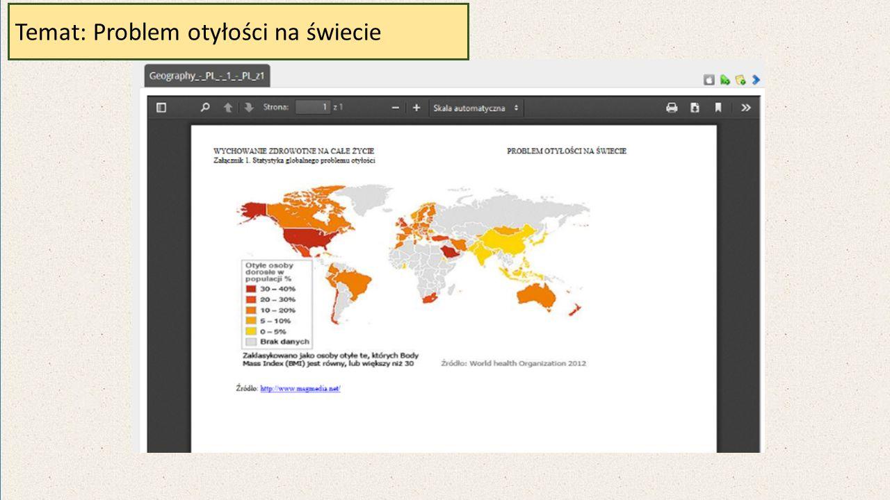 Temat: Problem otyłości na świecie