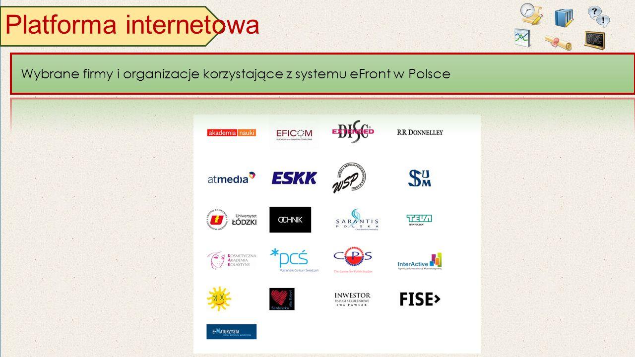 Platforma internetowa Wybrane firmy i organizacje korzystające z systemu eFront w Polsce