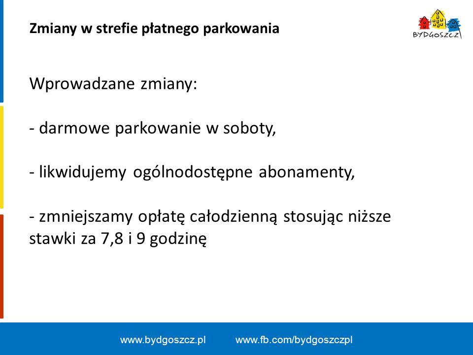 Zmiany w strefie płatnego parkowania www.bydgoszcz.pl www.fb.com/bydgoszczpl Wprowadzane zmiany: - darmowe parkowanie w soboty, - likwidujemy ogólnodostępne abonamenty, - zmniejszamy opłatę całodzienną stosując niższe stawki za 7,8 i 9 godzinę