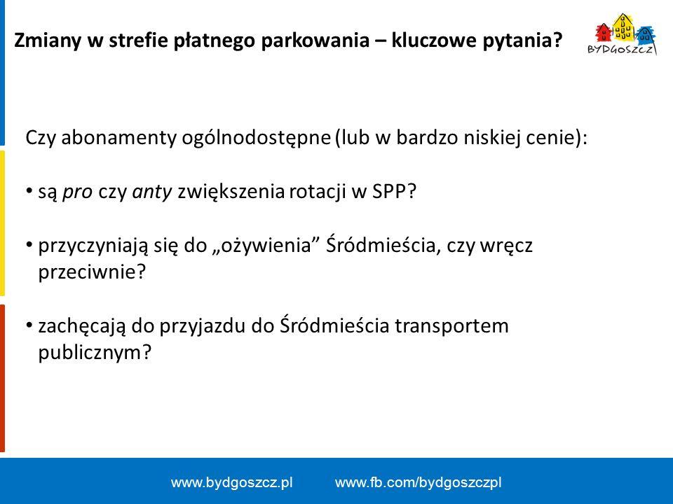 www.bydgoszcz.pl www.fb.com/bydgoszczpl Zmiany w strefie płatnego parkowania – kluczowe pytania.