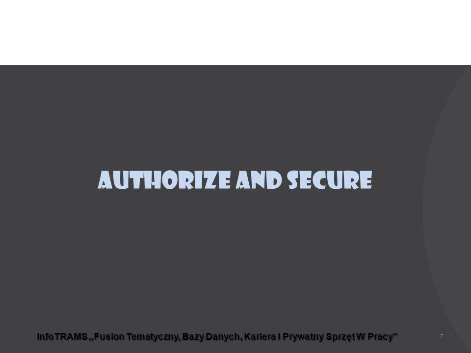 """InfoTRAMS """"Fusion Tematyczny, Bazy Danych, Kariera I Prywatny Sprzęt W Pracy Authorize and Secure 7"""