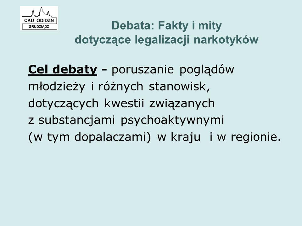 Debata: Fakty i mity dotyczące legalizacji narkotyków Cel debaty - poruszanie poglądów młodzieży i różnych stanowisk, dotyczących kwestii związanych z