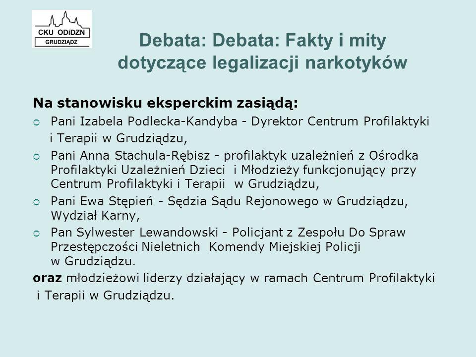 Debata: Debata: Fakty i mity dotyczące legalizacji narkotyków Na stanowisku eksperckim zasiądą:  Pani Izabela Podlecka-Kandyba - Dyrektor Centrum Pro