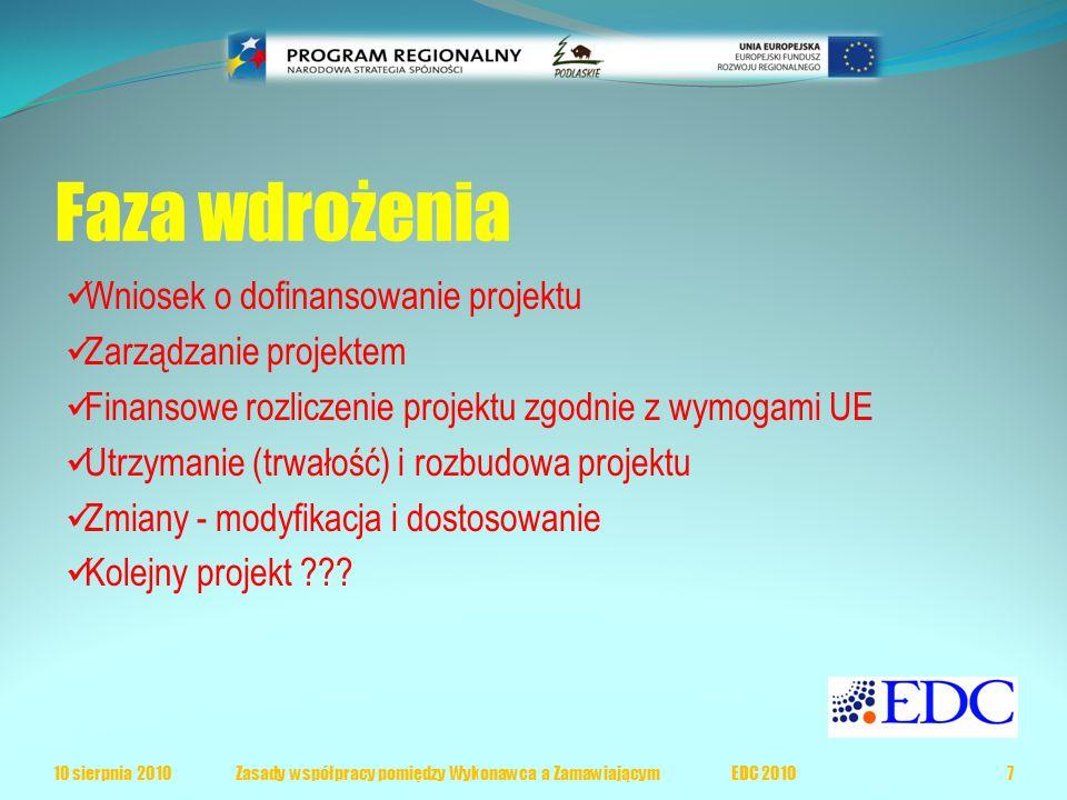 Faza wdrożenia Wniosek o dofinansowanie projektu Zarządzanie projektem Finansowe rozliczenie projektu zgodnie z wymogami UE Utrzymanie (trwałość) i rozbudowa projektu Zmiany - modyfikacja i dostosowanie Kolejny projekt ??.