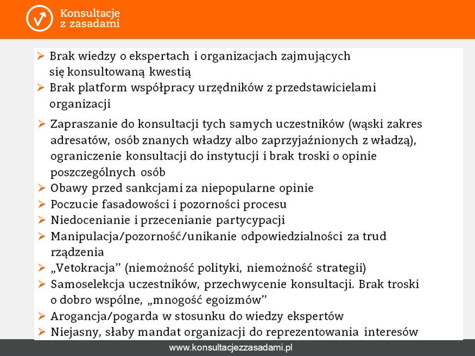www.konsultacjezzasadami.pl Wyzwania cd.