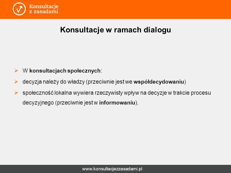 www.konsultacjezzasadami.pl Konsultacje w ramach dialogu  W konsultacjach społecznych:  decyzja należy do władzy (przeciwnie jest we współdecydowaniu)  społeczność lokalna wywiera rzeczywisty wpływ na decyzje w trakcie procesu decyzyjnego (przeciwnie jest w informowaniu).