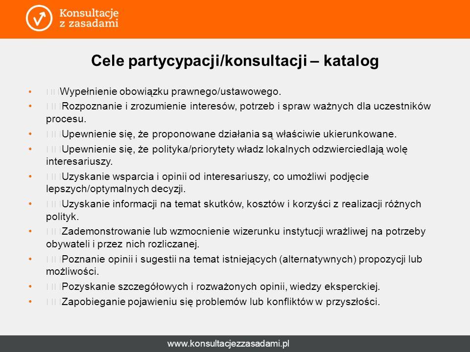 www.konsultacjezzasadami.pl Cele partycypacji/konsultacji – katalog Wypełnienie obowiązku prawnego/ustawowego.