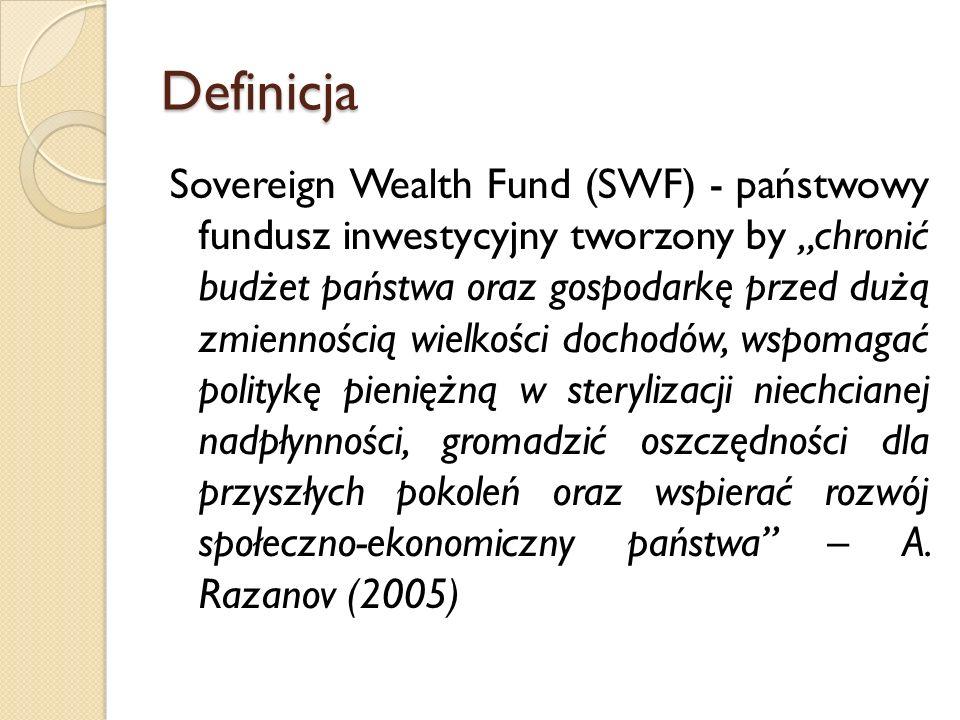 """Definicja Sovereign Wealth Fund (SWF) - państwowy fundusz inwestycyjny tworzony by """"chronić budżet państwa oraz gospodarkę przed dużą zmiennością wielkości dochodów, wspomagać politykę pieniężną w sterylizacji niechcianej nadpłynności, gromadzić oszczędności dla przyszłych pokoleń oraz wspierać rozwój społeczno-ekonomiczny państwa – A."""