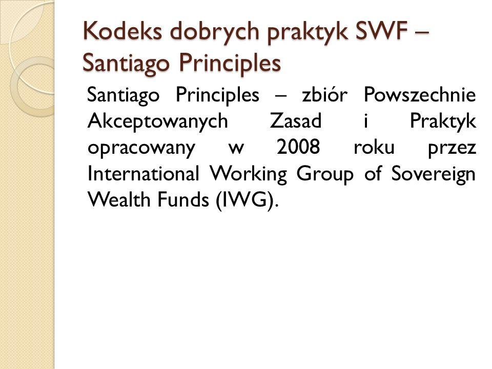 Kodeks dobrych praktyk SWF – Santiago Principles Santiago Principles – zbiór Powszechnie Akceptowanych Zasad i Praktyk opracowany w 2008 roku przez In
