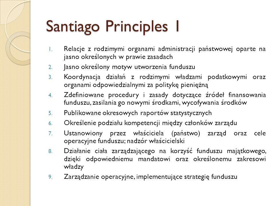 Santiago Principles 1 1. Relacje z rodzimymi organami administracji państwowej oparte na jasno określonych w prawie zasadach 2. Jasno określony motyw