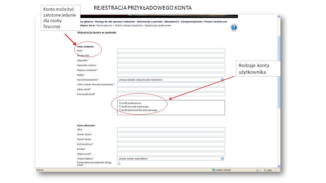 Rodzaje konta użytkownika Konto może być założone jedynie dla osoby fizycznej REJESTRACJA PRZYKŁADOWEGO KONTA