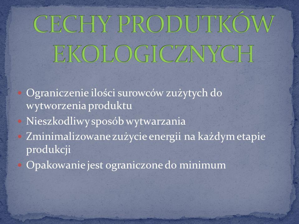 Ograniczenie ilości surowców zużytych do wytworzenia produktu Nieszkodliwy sposób wytwarzania Zminimalizowane zużycie energii na każdym etapie produkcji Opakowanie jest ograniczone do minimum