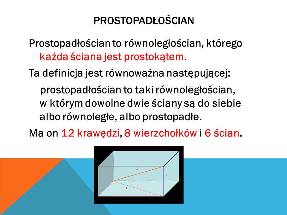 PROSTOPADŁOŚCIAN Prostopadłościan to równoległościan, którego każda ściana jest prostokątem. Ta definicja jest równoważna następującej: prostopadłości