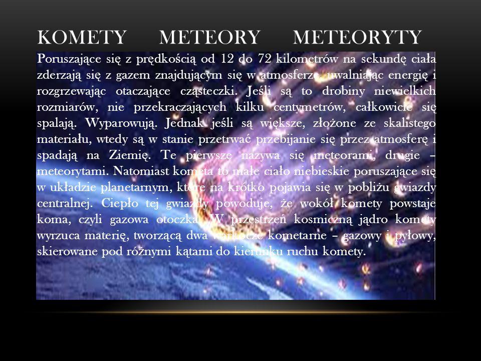 KOMETY METEORY METEORYTY Poruszaj ą ce si ę z pr ę dko ś ci ą od 12 do 72 kilometrów na sekund ę cia ł a zderzaj ą si ę z gazem znajduj ą cym si ę w atmosferze, uwalniaj ą c energi ę i rozgrzewaj ą c otaczaj ą ce cz ą steczki.