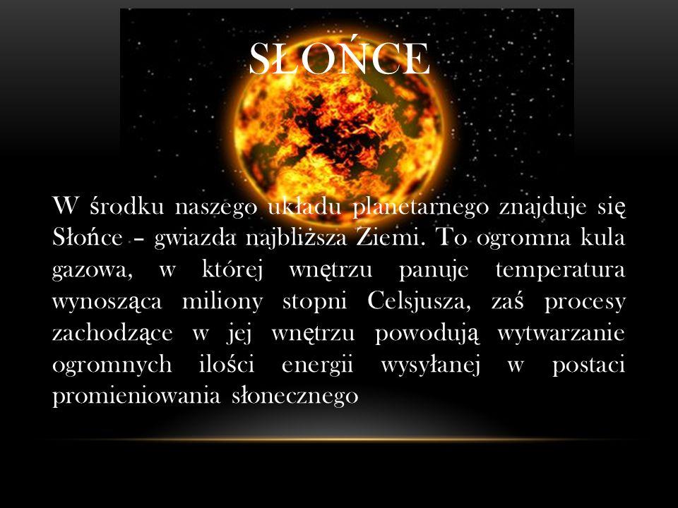 S Ł O Ń CE W ś rodku naszego uk ł adu planetarnego znajduje si ę S ł o ń ce – gwiazda najbli ż sza Ziemi.