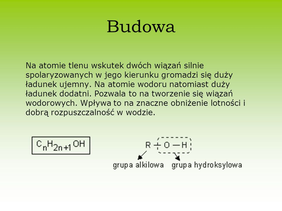 Budowa Na atomie tlenu wskutek dwóch wiązań silnie spolaryzowanych w jego kierunku gromadzi się duży ładunek ujemny. Na atomie wodoru natomiast duży ł