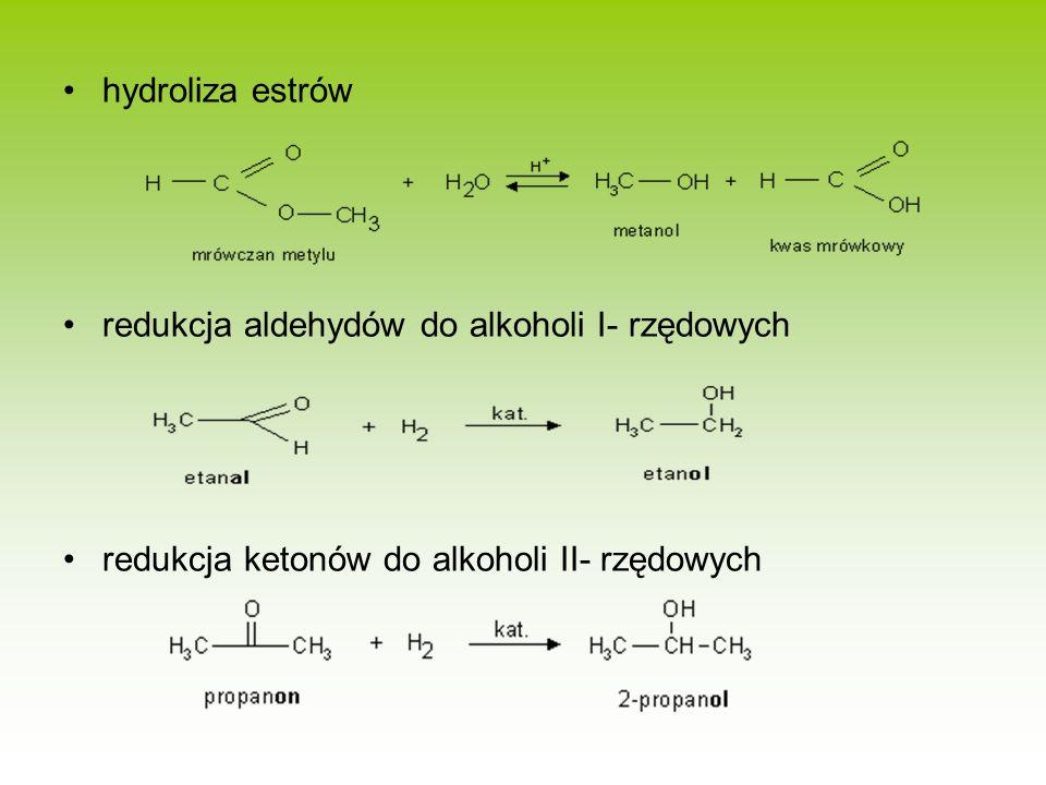 hydroliza estrów redukcja aldehydów do alkoholi I- rzędowych redukcja ketonów do alkoholi II- rzędowych