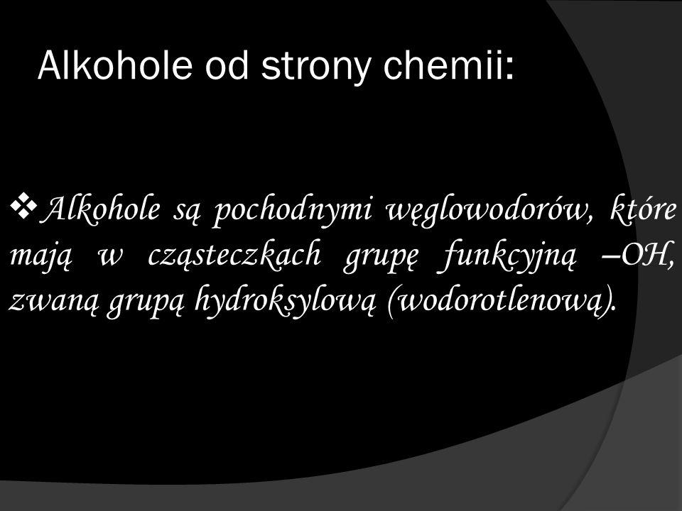 """Wzór ogólny alkoholi:  C n H 2n+1 -OH lub R-OH  """"N jest kolejną liczbą naturalną określającą liczbę atomów węgla w cząsteczce alkoholu."""