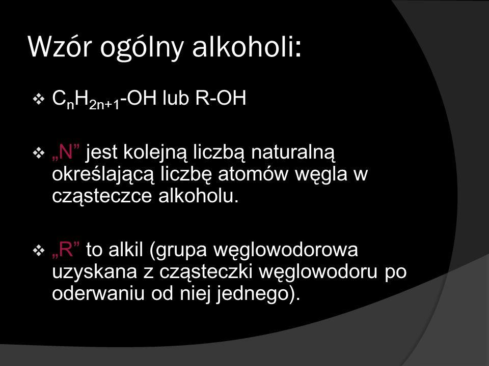 Najbardziej rozpoznawalne alkohole:  Metanol  Etanol  Glicerol