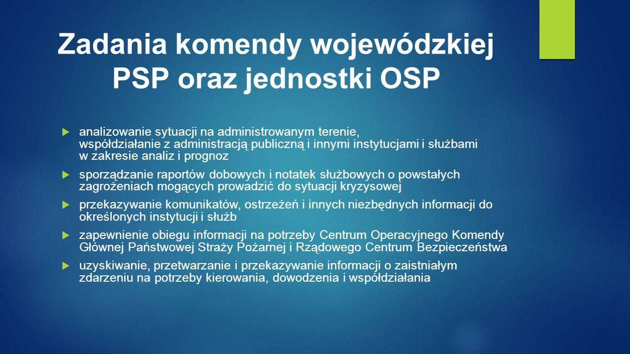 Zadania komendy wojewódzkiej PSP oraz jednostki OSP  analizowanie sytuacji na administrowanym terenie, współdziałanie z administracją publiczną i innymi instytucjami i służbami w zakresie analiz i prognoz  sporządzanie raportów dobowych i notatek służbowych o powstałych zagrożeniach mogących prowadzić do sytuacji kryzysowej  przekazywanie komunikatów, ostrzeżeń i innych niezbędnych informacji do określonych instytucji i służb  zapewnienie obiegu informacji na potrzeby Centrum Operacyjnego Komendy Głównej Państwowej Straży Pożarnej i Rządowego Centrum Bezpieczeństwa  uzyskiwanie, przetwarzanie i przekazywanie informacji o zaistniałym zdarzeniu na potrzeby kierowania, dowodzenia i współdziałania