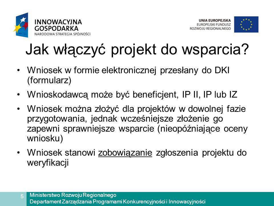 Ministerstwo Rozwoju Regionalnego Departament Zarządzania Programami Konkurencyjności i Innowacyjności 5 Jak włączyć projekt do wsparcia.