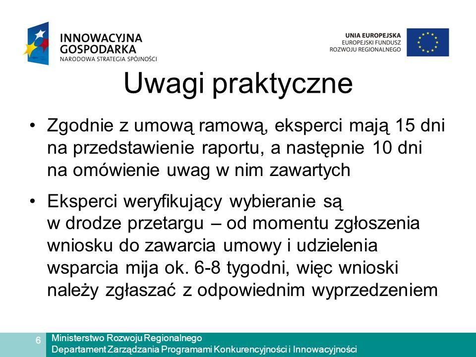 Ministerstwo Rozwoju Regionalnego Departament Zarządzania Programami Konkurencyjności i Innowacyjności 6 Uwagi praktyczne Zgodnie z umową ramową, eksperci mają 15 dni na przedstawienie raportu, a następnie 10 dni na omówienie uwag w nim zawartych Eksperci weryfikujący wybieranie są w drodze przetargu – od momentu zgłoszenia wniosku do zawarcia umowy i udzielenia wsparcia mija ok.