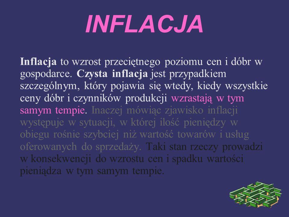 INFLACJA Inflacja to wzrost przeciętnego poziomu cen i dóbr w gospodarce. Czysta inflacja jest przypadkiem szczególnym, który pojawia się wtedy, kiedy