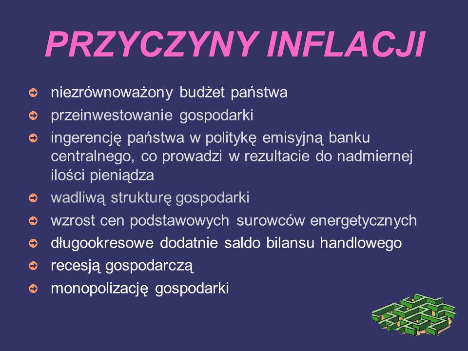 PRZYCZYNY INFLACJI ➲ niezrównoważony budżet państwa ➲ przeinwestowanie gospodarki ➲ ingerencję państwa w politykę emisyjną banku centralnego, co prowa