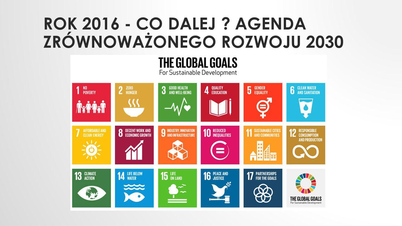 ROK 2016 - CO DALEJ AGENDA ZRÓWNOWAŻONEGO ROZWOJU 2030