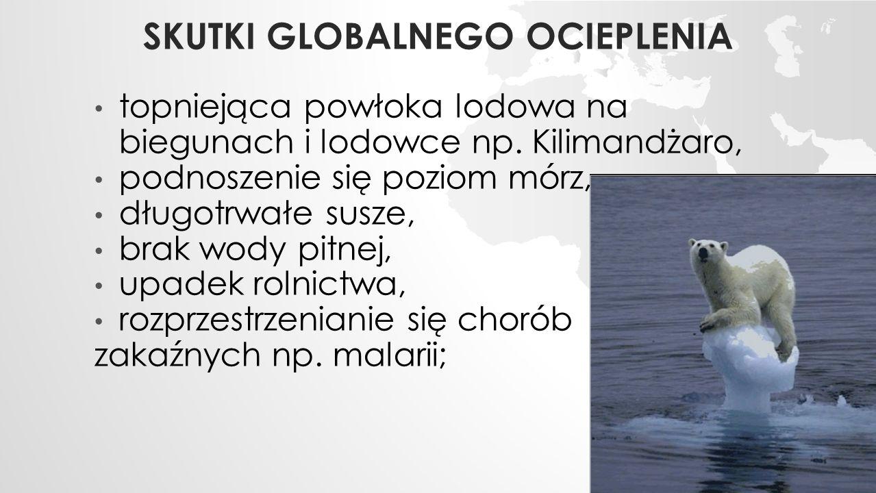SKUTKI GLOBALNEGO OCIEPLENIA topniejąca powłoka lodowa na biegunach i lodowce np.