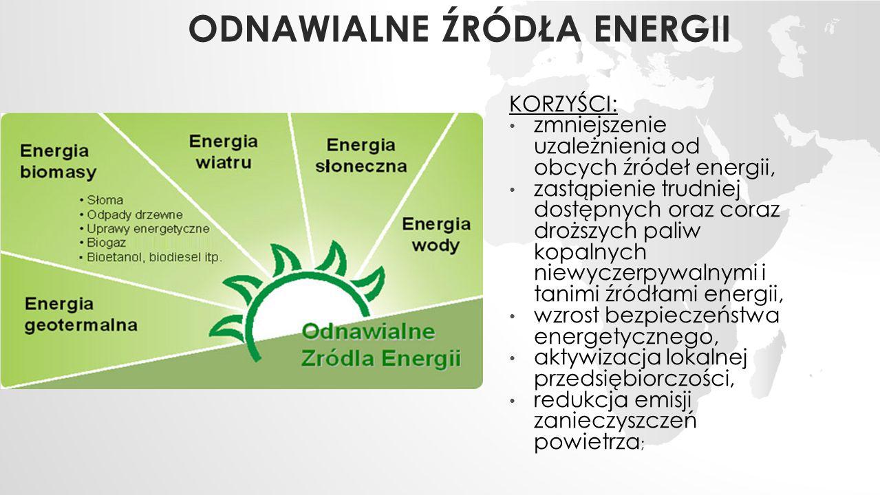 ODNAWIALNE ŹRÓDŁA ENERGII KORZYŚCI: zmniejszenie uzależnienia od obcych źródeł energii, zastąpienie trudniej dostępnych oraz coraz droższych paliw kopalnych niewyczerpywalnymi i tanimi źródłami energii, wzrost bezpieczeństwa energetycznego, aktywizacja lokalnej przedsiębiorczości, redukcja emisji zanieczyszczeń powietrza ;