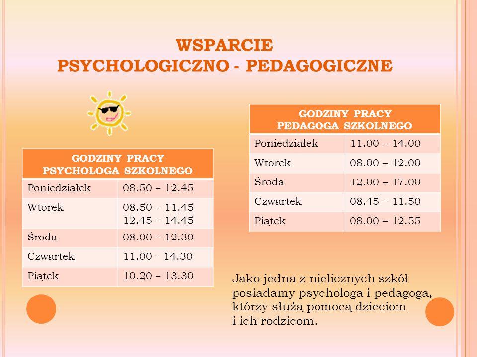 Zajęcia psychoedukacyjne dla uczniów mających trudności w relacjach z rówieśnikami Zajęcia wyrównawcze z matematyki, języka niemieckiego, przyrody Zajęcia przygotowujące uczniów do sprawdzianu kompetencji kl.