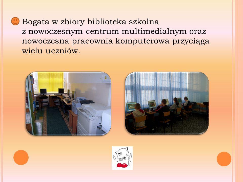 Bogata w zbiory biblioteka szkolna z nowoczesnym centrum multimedialnym oraz nowoczesna pracownia komputerowa przyciąga wielu uczniów.