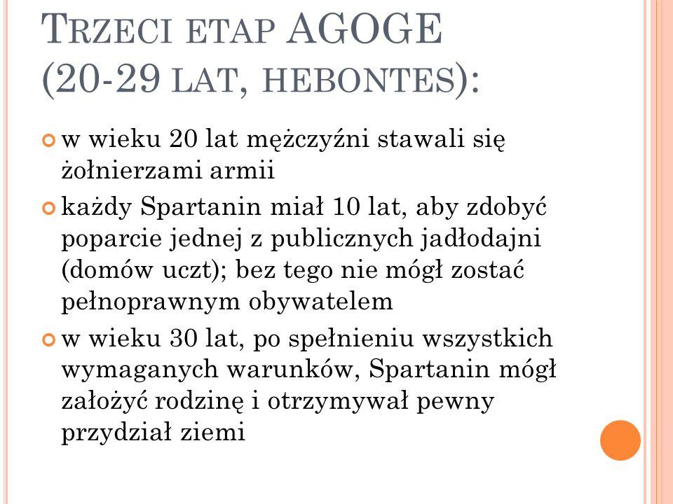 T RZECI ETAP AGOGE (20-29 LAT, HEBONTES ): w wieku 20 lat mężczyźni stawali się żołnierzami armii każdy Spartanin miał 10 lat, aby zdobyć poparcie jednej z publicznych jadłodajni (domów uczt); bez tego nie mógł zostać pełnoprawnym obywatelem w wieku 30 lat, po spełnieniu wszystkich wymaganych warunków, Spartanin mógł założyć rodzinę i otrzymywał pewny przydział ziemi