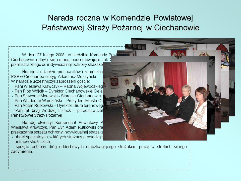 Przekazany sprzęt został zakupiony ze środków własnych Komendy Powiatowej PSP w Ciechanowie przy dofinansowaniu ze środków Urzędu Marszałkowskiego, Wojewódzkiego Funduszu Ochrony Środowiska i Gospodarki Wodnej oraz Komendy Wojewódzkiej PSP w Warszawie.