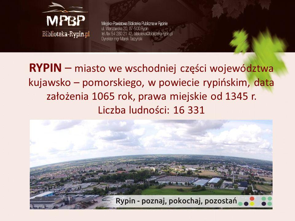 RYPIN – miasto we wschodniej części województwa kujawsko – pomorskiego, w powiecie rypińskim, data założenia 1065 rok, prawa miejskie od 1345 r. Liczb