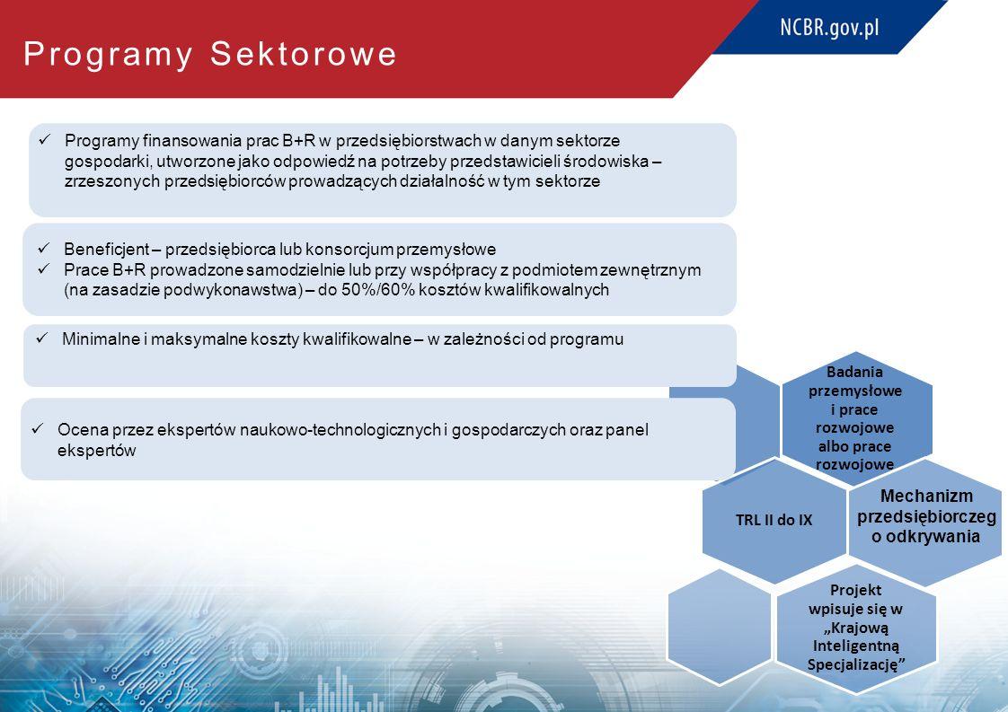 """Badania przemysłowe i prace rozwojowe albo prace rozwojowe TRL II do IX Projekt wpisuje się w """"Krajową Inteligentną Specjalizację Programy Sektorowe Beneficjent – przedsiębiorca lub konsorcjum przemysłowe Prace B+R prowadzone samodzielnie lub przy współpracy z podmiotem zewnętrznym (na zasadzie podwykonawstwa) – do 50%/60% kosztów kwalifikowalnych Programy finansowania prac B+R w przedsiębiorstwach w danym sektorze gospodarki, utworzone jako odpowiedź na potrzeby przedstawicieli środowiska – zrzeszonych przedsiębiorców prowadzących działalność w tym sektorze Ocena przez ekspertów naukowo-technologicznych i gospodarczych oraz panel ekspertów Minimalne i maksymalne koszty kwalifikowalne – w zależności od programu Mechanizm przedsiębiorczeg o odkrywania"""