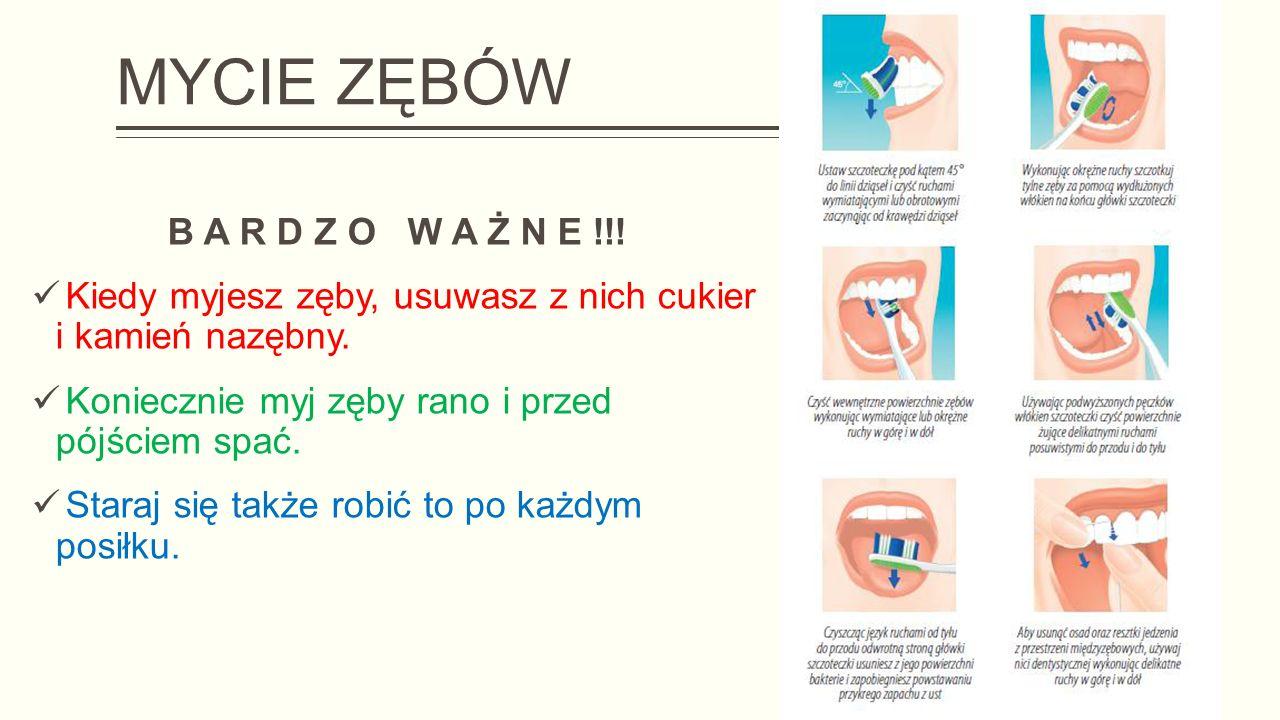 MYCIE ZĘBÓW B A R D Z O W A Ż N E !!.Kiedy myjesz zęby, usuwasz z nich cukier i kamień nazębny.